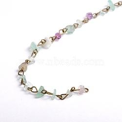 main naturelles fluorite puces perles chaînes pour neckalces bracelets faisant, avec épingle à oeil en fer bronze antique, non soudée, 39.3; perles: 5~9 mm(X-AJEW-JB00044-01)