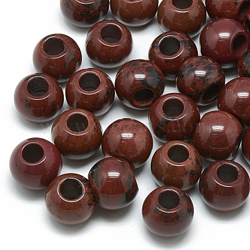 Natural Mahogany Obsidian Beads, Large Hole Beads, Rondelle, 16x14mm, Hole: 5.5mm(G-T092-16mm-08)