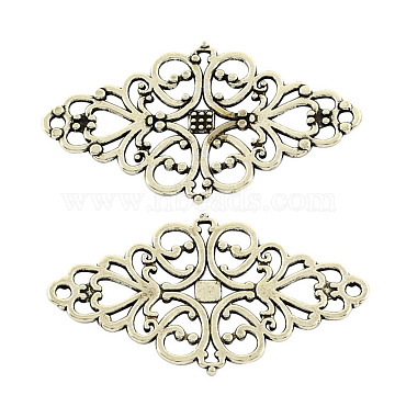 Tibetan Style Alloy Rhombus Filigree Joiners Links, Cadmium Free & Lead Free, Antique Silver, 42x25x1mm, Hole: 2mm(X-TIBE-5377-AS-LF)