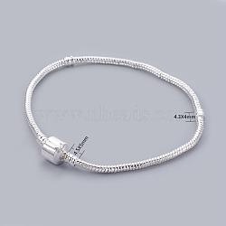 Plaqué argent de style européen étoffe bracelet de style européen, avec des agrafes en laiton sans signe, environ 21 cm de long (à l'exception de la longueur de boucle), épaisseur de 3mm, Trou: 2mm(X-PPJ024-S)