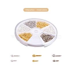 1 boîte de vis de fer à oeil épingles à ergots, pour la moitié de perles percées, couleur mixte, 10x4x1 & mm 8x4x1 mm, trou: 2 mm; environ 700 / boîte(IFIN-X0022-B)