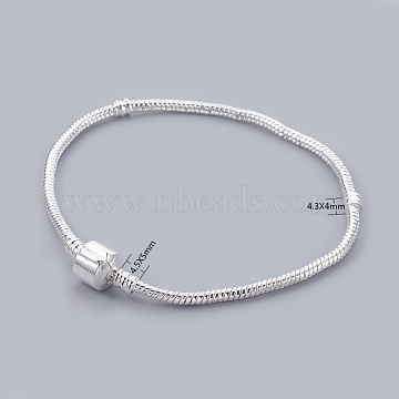 Silver Color Plated European Style European Style Bracelet Making, with Brass Clasps without Sign, about 21cm long(excluding the length of clasp), 3mm thick, hole: 2mm(X-PPJ024-S)