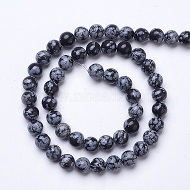 Natural Snowflake Obsidian Beads Strands(G-D855-11-8mm)-2