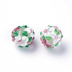 Fait main perles au chalumeau cahoteuses, rond, blanc, 14~15mm, Trou: 1.5~1.6mm(LAMP-E021-07G)
