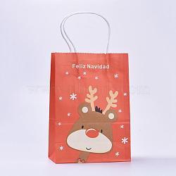 Sacs en papier kraft, avec poignées, sacs-cadeaux, sacs à provisions, pour les sacs de fête de Noël, rectangle, orange rouge , 21x15x8 cm(CARB-E002-S-B02)