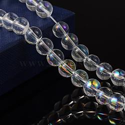 """Chapelets de perles en verre rondes, clair ab, de couleur plaquée ab , Perle: 8 mm de diamètre, Trou: 1mm, environ 14"""" / brin; environ 42 pcs / brin(X-GR8mm01Y-AB)"""