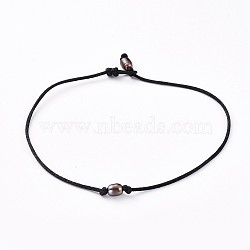 Choker Necklaces, with Natural Cultured Freshwater Pearl Beads and Nylon Thread, Black, 13.38 inches(34cm)(NJEW-JN02629-03)