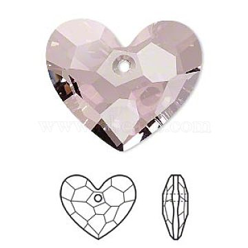 Austrian Crystal Rhinestone, 6264, Crystal Passions, Faceted, Truly in Love Heart Pendant, 001 ANTP_Crystal Antique Pink, 18x18x10mm, Hole: 1.5mm(6264-18mm-001ANTP(U))