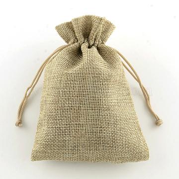 Burlap Packing Pouches, Drawstring Bags, BurlyWood, 18x13cm(ABAG-TA0001-05)