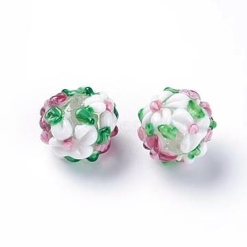Handmade Bumpy Lampwork Beads, Round, White, 14~15mm, Hole: 1.5~1.6mm(LAMP-E021-07G)