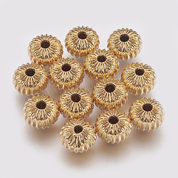 Brass Corrugated Beads, Rondelle, Nickel Free, Real 18K Gold Plated, 8x5.5mm, Hole: 1.5mm(X-KK-S314-8mm-13G)