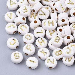 plaquer les perles acryliques, métal enlacée, style alphabet, plat rond, plaqué or, 7x4 mm, trou: 1.8 mm(X-PACR-Q112-07)