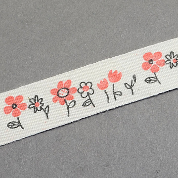 Flowers Printed Cotton Ribbon, Tomato, 5/8inch(15mm); about 20yards/roll(18.28m/roll)(OCOR-S026-15)