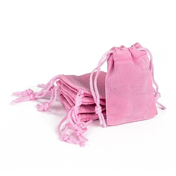 Rectangle Velvet Pouches, Gift Bags, Pink, 7x5cm(TP-R022-5x7-06)