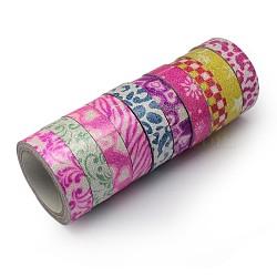 """Motif imprimé ruban de coton, avec de la poudre de paillettes, et du ruban adhésif sur l'autre côté, couleur mixte, 5/8"""" (15 mm); environ 4.37yards / rouleau (4m / rouleau), 10 rouleaux / groupe(OCOR-S079-1.5cm-M)"""