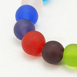 La main de perles au chalumeau givrés, rond, colorées, 6mm, Trou: 1mm(X-LAMP-J021-6mm-15)