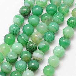 Natural Striped Agate/Banded Agate Bead Strands, Round, Grade A, Dyed & Heated, MediumSea Green, 10mm, Hole: 1mm; about 37pcs/strand, 15inches