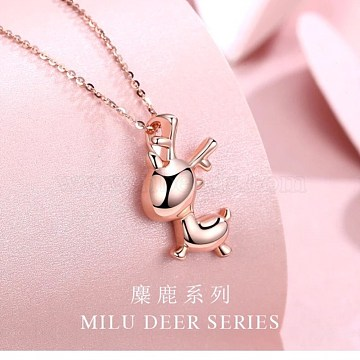 925 Sterling Silver Pendant Necklaces, Cable Chains, Christmas Reindeer, Rose Gold(NJEW-BB34650-RG)