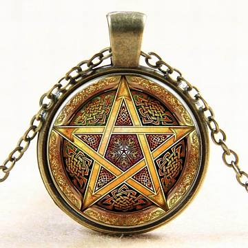 Star Pattern Flat Round Glass Pendant Necklaces, Wicca Jewelry, with Alloy Chains, Antique Bronze, 18 inches(NJEW-N0051-006B-01)