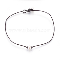 Cowhide Leather Cord Choker Necklaces, with Pearl, Abacus, 14.96 inches(38cm)(NJEW-JN02248)