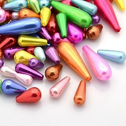 Perles de plastique abs de couleur mixte imitation perle abs, 10~30x6~10mm, Trou: 1~2mm(MACR-X0002)