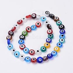 Perles vernissées manuelles, mauvais œil, plat rond, couleur mixte, environ 8 mm de diamètre, épaisseur de 4mm, Trou: 1mm, Environ 50 pcs/chapelet(X-DF021Y)