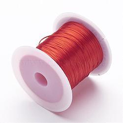Rouges se étendent perles élastique chaîne de fil, 1mm, 10m/rouleau(X-EW-S002-01)