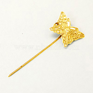 Iron Hair Stick Findings, with Brass Butterfly Tray, Nickel Free, Golden, 58mm(IFIN-I010-G-NF)