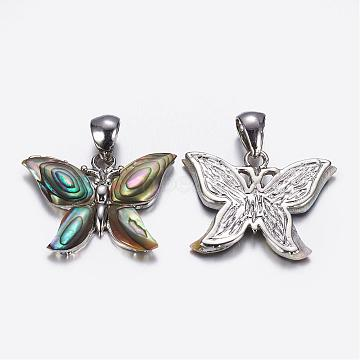 Abalone Shell/Paua ShellPendants, Butterfly, with Brass Findings, Platinum, 27x19~21x3mm, Hole: 4x5.5mm(SSHEL-K017-02P)