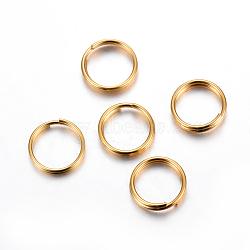 304 Stainless Steel Split Rings, Golden, 7x1.3mm, Inner Diameter: 5.5mm, Single Wire: 0.65mm(X-STAS-P223-22G-03)