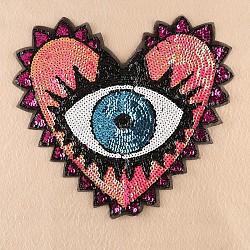 tissu de broderie informatisé coudre sur des patchs, accessoires de costumes, appliques paillettes, coeur avec oeil, fuchsia, 31x35 cm(DIY-F030-01A)
