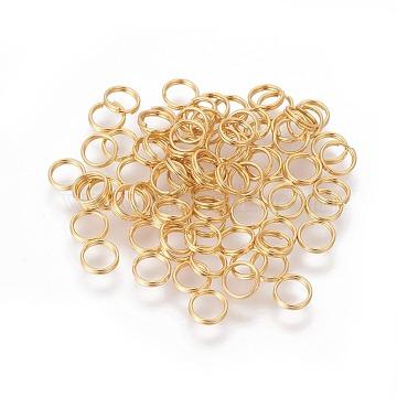 304 Stainless Steel Split Rings, Golden, 5x1mm, Inner Diameter: 4mm(STAS-G191-11G)