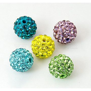 Polymer Clay Rhinestone Beads, Pave Disco Ball Beads, Grade A, Round, Half Drilled, Mixed Color, 10mm, Hole: 1mm(X-RB-H258-HD10mm-M)