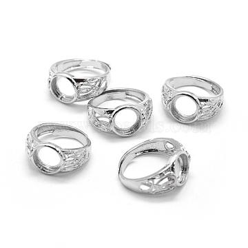 Brass Ring Shanks, Pad Ring Settings, Adjustable, Platinum, 18mm(KK-L184-50P)