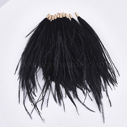 Ostrich Feather Tassel Big Pendant Decorations, with Brass Findings, Golden, Black, 130~170x4mm, Hole: 1.6mm(X-FIND-S302-08L)