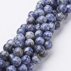 pierres précieuses perles, jaspe tache bleue naturelle, arrondir, cornflowerblue, 12 mm, trou: 1 mm; environ 32 perle / brin, 16(GSR12mmC036)