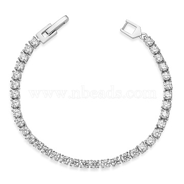 SHEGRACE 925 Sterling Silver Bracelets, with Grade AAA Cubic Zirconia, Clear, Platinum, 7-1/8 inches(18cm)(JB569A-03)