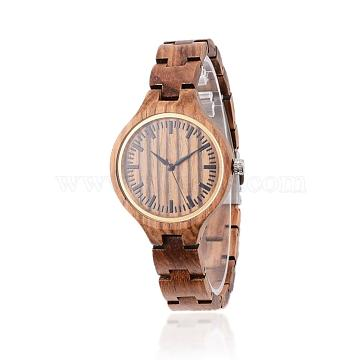 Zebrano Wood Wristwatches, Women Electronic Watch, with Alloy Findings, Camel, 65mm; Watch Head: 47x37x10.5mm; Watch Face: 33mm(WACH-H038-20)