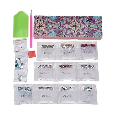 5D DIY Diamond Painting Stickers Kits For ABS Pencil Case Making, with Resin Rhinestones, Diamond Sticky Pen, Tray Plate and Glue Clay, Rectangle with Flower Pattern, Mixed Color, 20.5x7x2.5cm(DIY-F059-28)