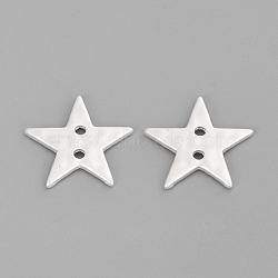 2 кнопки из латуни, звезда, кадмия и никеля и свинца, 925 серебро покрытием, 20x21x2 mm, отверстия: 2 mm(X-PALLOY-Q357-84MS-NR)