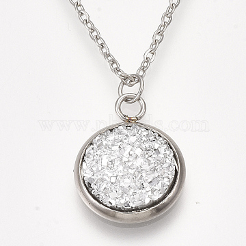 201 Stainless Steel Pendant Necklaces, with Druzy Resin, Cable Chains and Lobster Claw Clasps, Flat Round, Silver, 15.7 inches(40cm); 1.5mm; Flat Round: 18x14x4mm(NJEW-T009-JN149-1)