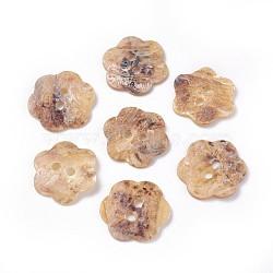 Boutons de nacre d'eau douce, fleur, 2-trou, burlywood, 13~15x1~2.5mm, Trou: 1.6mm(SHEL-G011-07)