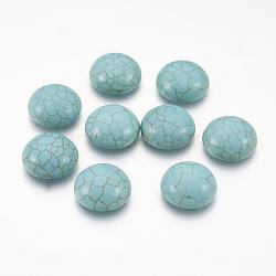Accessoires d'artisanat teints turquoise synthétique pierres précieuses cabochons de dôme dos plat , demi-rond, darkcyan, 16x5mm(X-TURQ-S266-16mm-01)