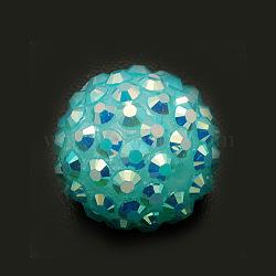 Бусины со стразами из смолы, DIY материал для серьги супруг баскетбола, круглые, бирюзовые, Размер : диаметром около 18 мм , отверстие : 2 мм(X-RESI-A002-19)