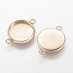 304 настройки разъема кабошона из нержавеющей стали, чашки безель с краем, плоские круглые, розовое золото, лоток: 12 мм; 19.5x14x2 мм, отверстия: 2 mm(X-STAS-E117-14RG)