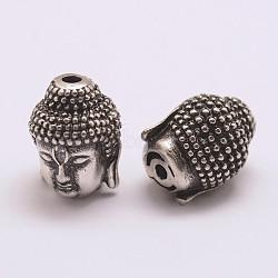 Perles de zircone cubique de grade AAA de micro pave, Plaqué longue durée, Sans cadmium & sans nickel & sans plomb, Bouddha, 925 argent sterling thaï plaqué, 13x10x10mm, Trou: 2mm(X-ZIRC-G093-38AS-NR)