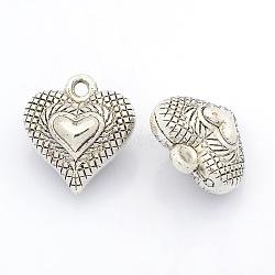 Пластиковые сердечные кулоны ccb, античное серебро, 21x19x12 мм, отверстие : 2 мм(CCB-J030-59AS)