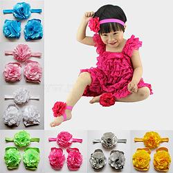Новорожденный подарочные наборы, ребенок цветочные повязки и детские босоножки босоножки, разноцветные, 112 мм, 50 мм(OHAR-R107-M)