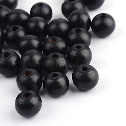 Dyed Natural Wood Beads, Round, Black, 8x7mm, Hole: 3mm(X-WOOD-S662-7x8mm-06)