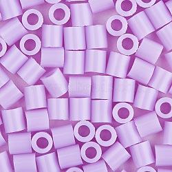1 boîte 5 mm perles fondantes pe bricolage en perles à repasser recharges perler perles pour les enfants, Tube, lilas, 5x5mm, trou: 3 mm; environ 500 / boîte(DIY-X0047-79-B)
